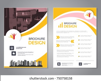 Vector modern brochure design, abstract flyer with background of houses. Layout template with city. Poster of pink, yellow and white color. Magazine cover.