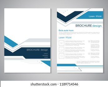 Vector modern brochure. Design of annual report, abstract flyer with technology background. Layout template. Poster of dark blue, blue, grey and white color. Magazine cover.