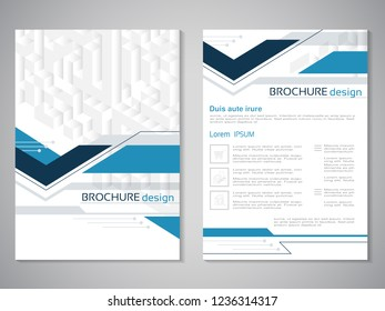 Vector modern brochure. Design of annual report, abstract technology flyer, geometry background. Layout template with cubes design. Poster of dark blue, blue, grey and white color. Magazine cover.