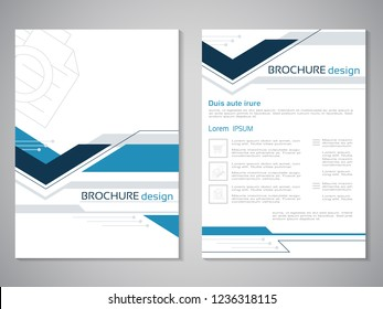 Vector modern brochure. Design of annual report, abstract technology flyer, geometry background. Layout template. Poster of dark blue, blue, grey and white color. Magazine cover.
