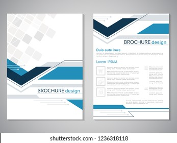Vector modern brochure. Design of annual report, abstract technology flyer, geometry background. Layout template with square design. Poster of dark blue, blue, grey and white color. Magazine cover.