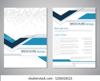 Vector modern brochure. Design of annual report, abstract technology flyer, geometry background. Layout template with dotted design. Poster of dark blue, blue, grey and white color. Magazine cover.