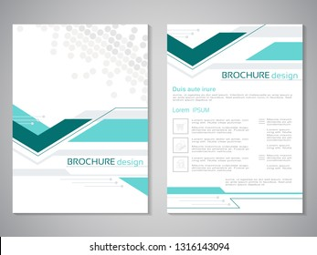 Vector modern brochure. Design of annual report, abstract flyer with technology background, arrow. Dotted layout template. Poster of cyan, grey and white color. Trendy minimalist geometric design