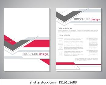 Vector modern brochure. Design of annual report, abstract flyer with technology background, arrow. Layout template. Poster of red, dark grey and white color. Magazine cover. Trendy minimalist geometri