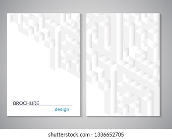 Vector modern brochure. Design of annual report, abstract technology flyer, geometry background. Layout template with cubes design. Poster of grey white color. Magazine cover.