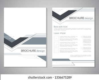 Vector modern brochure. Design of annual report, abstract flyer with technology background. Layout template. Poster of black and white color. Grey magazine cover.