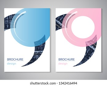 Vector modern brochure. Design of annual report, abstract flyer with blue jeans background. Layout template. Poster of blue and pink color. Geometric magazine cover with rounded design.