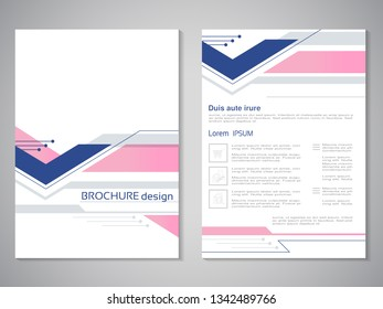 Vector modern brochure. Design of annual report, abstract flyer with technology background. Layout template. Poster of blue and pink color. Magazine cover.