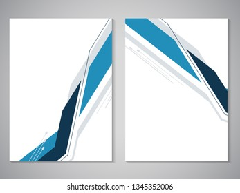 Vector modern brochure. Design of annual report, abstract flyer with geometric technology background. Layout template. Poster of dark blue, blue, grey and white color. Magazine cover.