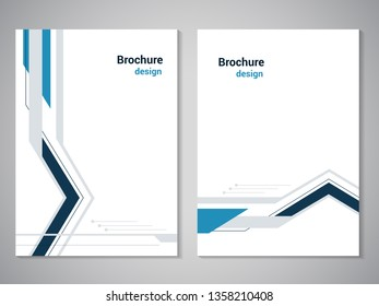 Vector modern brochure. Design of annual report, abstract flyer with technology background. Layout template. Poster of dark blue, blue, grey and white color. Magazine cover. Line design with arrow.