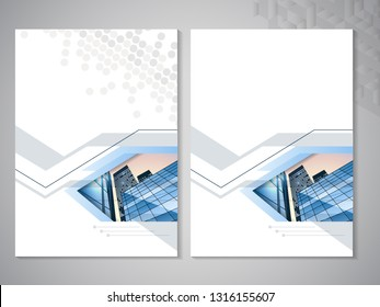Vector modern brochure, flyer with background of buildings. City scene. Layout template. A4 size. Poster of blue, grey, black and white color. Magazine cover. Trendy minimalist geometric design