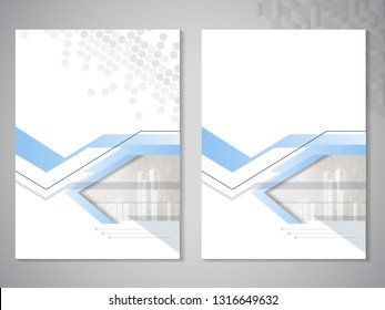 Vector modern brochure, flyer with background of buildings. City scene. Layout template. A4 size. Poster of blue, grey, black and white color. Magazine cover. Trendy minimalist geometric design.