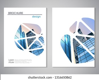 Vector modern brochure, flyer with background of buildings. City scene. Layout template. A4 size. Poster of blue, grey, white color. Geometric magazine cover.