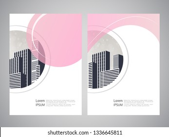Vector modern brochure, flyer with background of buildings. City scene. Layout template. A4 size. Poster of pink, grey, black, white color. Geometric magazine cover.