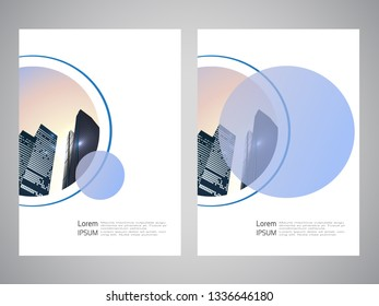 Vector modern brochure, flyer with background of buildings. City scene. Layout template. A4 size. Poster of blue, grey, black, white color. Geometric magazine cover.