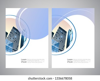 Vector modern brochure, flyer with background of buildings. City scene. Layout template. A4 size. Poster of blue, grey, white color. Geometric.  Magazine cover with rounded design for photo.