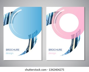 Vector modern brochure, flyer with background of buildings. City scene. Layout template. A4 size. Poster of pink, blue, grey, white color. Geometric.  Magazine cover with rounded design.