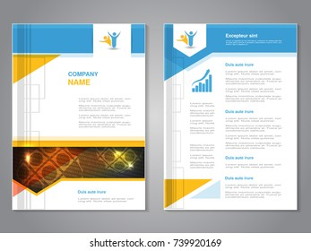 Vector modern brochure with globe design, abstract flyer with technology background. Layout template. Poster of blue, yellow, red and white color. Magazine cover.