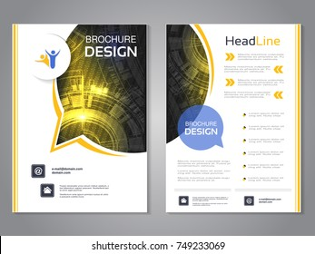Vector modern brochure rounded design with bubble, abstract flyer with technology background. Layout template. Poster of black, yellow and white color. Magazine cover.