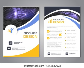 Vector modern brochure, technology design, flyer with futuristic background. Layout template. Binary code and gear wheel. Poster of blue, yellow, white color. Magazine cover.