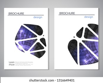 Vector modern brochure, technology design, flyer with futuristic background. Layout template. Binary code and gear wheel. Poster of blue, black, white color. Geometric magazine cover, triangle design.
