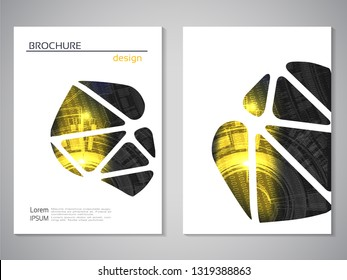 Vector modern brochure, technology design, flyer with futuristic background. Layout template. Binary code and gear wheel. Poster of yellow, black, white color. Geometric magazine cover, triangle desig