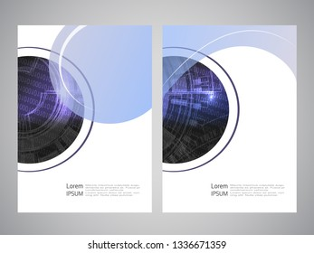 Vector modern brochure, technology design, flyer with futuristic background. Layout template. Binary code and gear wheel. Poster of blue, black, white color. Geometric magazine cover, round design.