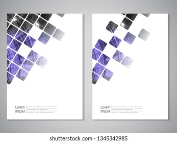 Vector modern brochure, technology design, flyer with futuristic cube background. Layout template. Binary code and gear wheel. Poster of blue purple, black, white color. Geometric magazine cover, squa