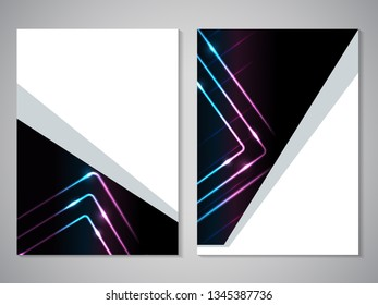 Vector modern brochure, technology design, flyer with futuristic cube background. Layout template. Poster of blue, cyan, purple, black, white color. Geometric magazine cover, square, triangle design.