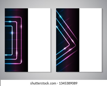 Vector modern brochure, technology design, flyer with futuristic cube background. Layout template. Poster of blue, cyan, purple, black, white color. Geometric magazine cover, square design.