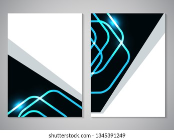 Vector modern brochure, technology design, flyer with futuristic cube background. Layout template. Poster of blue, cyan, black, white color. Geometric magazine cover, square, triangle design.