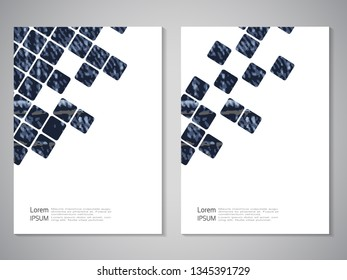Vector modern brochure, technology design, flyer with futuristic cube background. Layout template. Jeans texture. Poster of blue, dark blue, white color. Geometric magazine cover, square design.