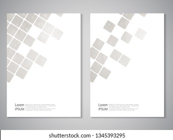 Vector modern brochure, technology design, flyer with futuristic cube background. Layout template. Silver texture. Poster of grey, white color. Geometric magazine cover, square design.