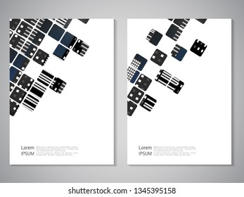 Vector modern brochure, technology design, flyer with futuristic cube background. Layout template. City, skyscraper texture. Poster of black, white color. Geometric magazine cover with square, striped