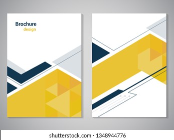 Vector modern brochure, technology design, flyer with futuristic hexagon background. Layout template. Poster of dark blue, grey, yellow, white color. Geometric magazine cover, arrow, triangle design.