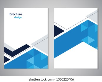 Vector modern brochure, technology design, flyer with futuristic hexagon background. Layout template. Poster of dark blue, blue, grey, white color. Geometric magazine cover, arrow, triangle design.