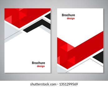 Vector modern brochure, technology design, flyer with futuristic hexagon background. Layout template. Poster of black, grey, red, white color. Geometric magazine cover, arrow, triangle design.