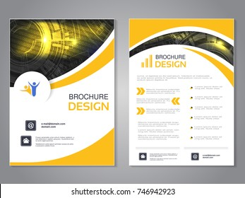 Vector modern brochure with wave design, abstract flyer with technology background. Layout template. Poster of black, yellow and white color. Magazine cover.