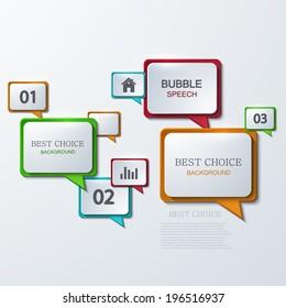 Vector modern bubble speech infographic background. Business development. Eps10