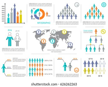 Vector modern business infographic design elements demographic collection