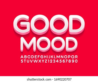 Vector modern card Good Mood with white 3D Font. Trendy Alphabet Letters and Numbers