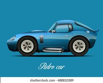 Vector modern cartoon car. retro car