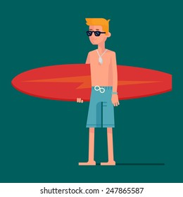 Vector modern character design on best summer beach holidays water sport and activities with young surf blond hair boy wearing hipster sunglasses and holding blue surfboard, full length isolated