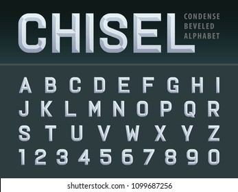 Vector of Modern Chiseled Alphabet Letters and numbers, Beveled stylized fonts, White Emboss Condensed Letters set for Futuristic, universal, Fashion, Beauty, Branding & Identity
