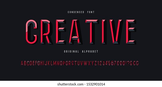 Vector of Modern Chiseled Alphabet Letters and numbers, Beveled stylized fonts, Colorful, Emboss Condensed Letters set for Futuristic, universal, Fashion, Beauty, Branding.