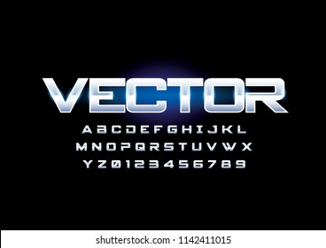 Vector of modern chromatic font and alphabet