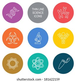 Vector modern circle thin line biology science icons