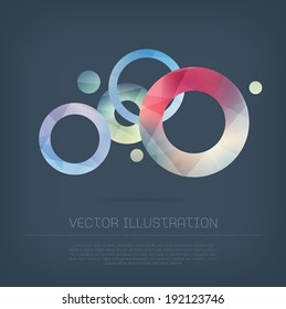 Vector modern circles background with colorful trendy and modern polygonal texture