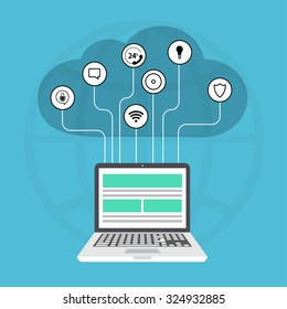 Vector modern cloud services flat background. Laptop with icons on blue