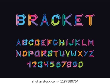 vector modern color font with the rounded brackets